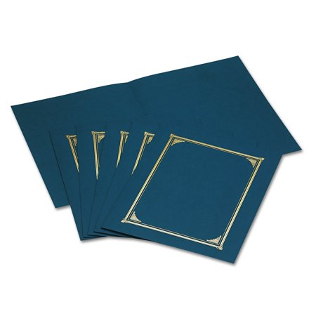Navy Foil - Navy Blue Document Covers, Foil, 6 Pack 8.5 in x 11 in , 8 in x 10 in, Premium 80 lb. linen stock certificate or document cover. By Geographics