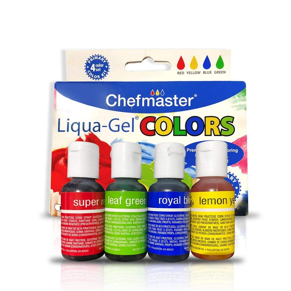 Chefmaster Liquid Gel Food Coloring, 4-Pack Food Coloring Liquid Gel for  Decorating & Crafts, Liquid Gel Food Color in Red, Yellow, Blue & Green,  .70 ...