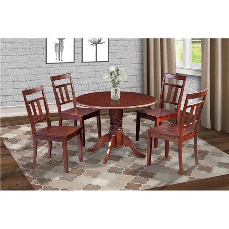 M&D Furniture BUWE5-MAH-W Burlington 5 Piece small kitchen table  set-kitchen table and 4 dining chairs in Mahogany finish