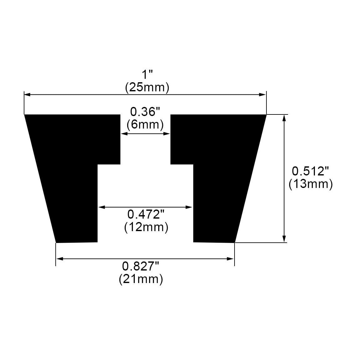 100pcs Rubber Feet Bumper Buffer Desk Leg Pads with Metal Washer, D25x21xH13mm - image 1 de 7