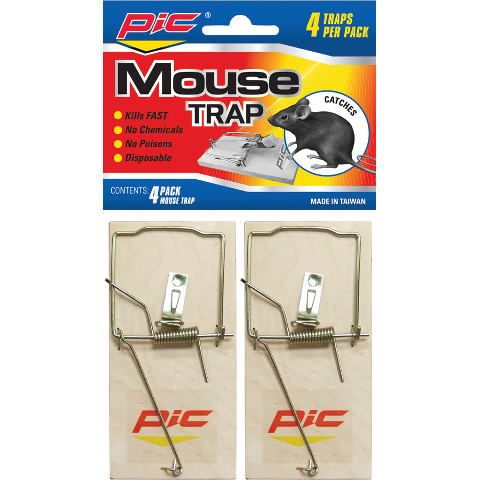 Pic Pest-Free Living Wood Mouse Traps, 4pk
