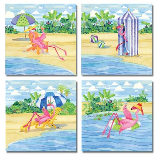 Fun, Retro, Colorful Flamingo Tropical Vacation; Four 12X12 Poster Prints