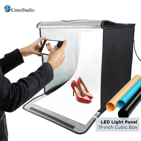 Loadstone Studio 17 Inch Cube Box Black LED Lighting Table Top Photo Shooting Tent for Commercial Product Photo Shoot, Color Background, LED Panel, Easy Install with Velcro, - Box Still Life Light Tent