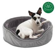 FurHaven Pet Dog Bed | Orthopedic Plush & Velvet Oval Pet Bed for Dogs & Cats, Smoke Gray, Medium
