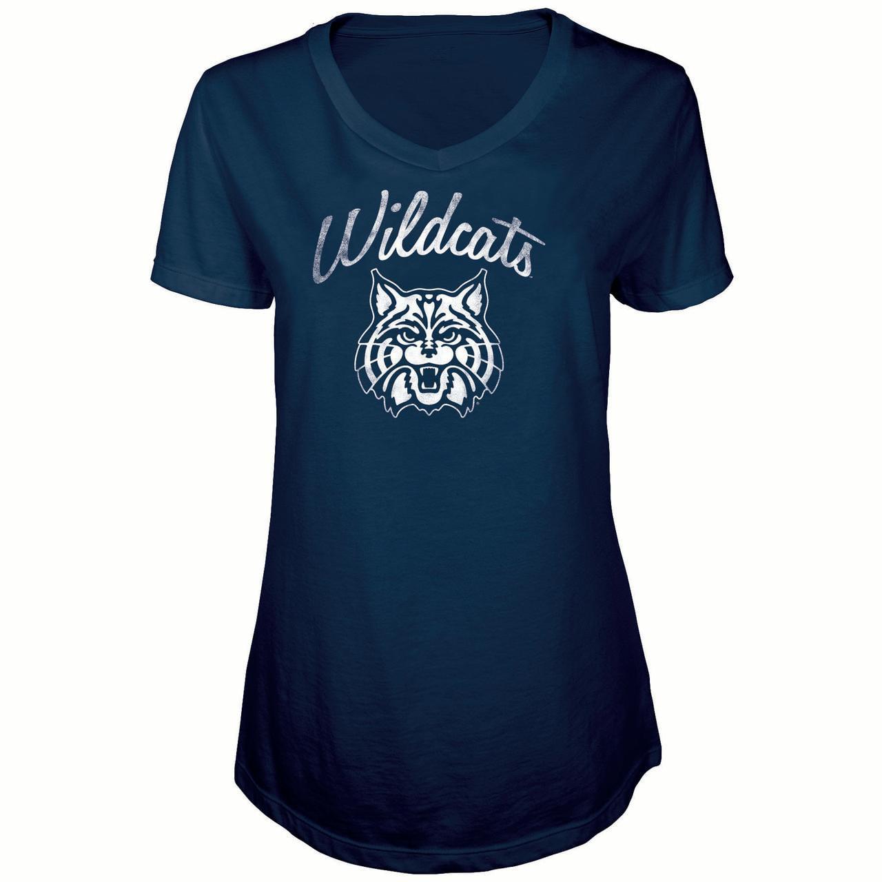 Women's Russell Navy Arizona Wildcats Distressed V-Neck Tunic T-Shirt