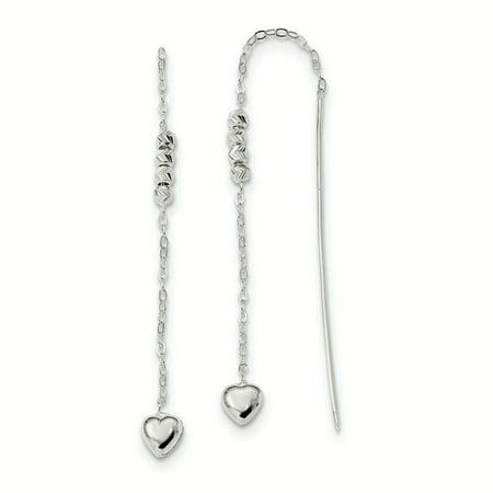 Sterling Silver Heart Beaded Threader Earrings (4.5 x 5.9 MM)