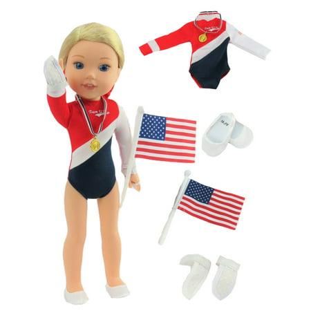 American Gymnastics 5 pc Set-Fits 14 Inch Wellie Wisher Dolls | 14 Inch Doll