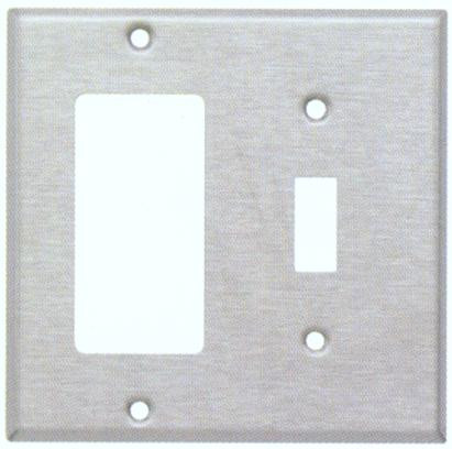 Stainless Steel Metal Wall Plates 2 Gang 1 Toggle 1 GFCI