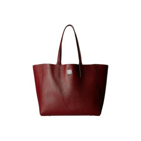 BRAND NEW WOMEN'S MCM WANDEL PEBBLED LEATHER MEDIUM SHOPPER TOTE HAND BAG (Ruby -