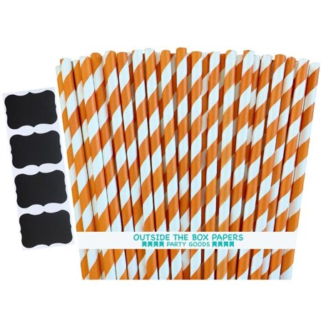 Orange and White Striped Paper Straws  100 Pack