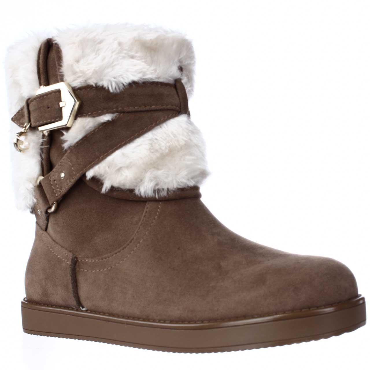 Womens G by GUESS Alixa Fuzzy Lined Pull On Short Winter Boots Medium Natural by Winter Boots