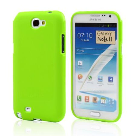 Galaxy Note 2 Case, Slim & Flexible Crystal Silicone TPU Skin Cover for Samsung Galaxy Note 2- [Green]