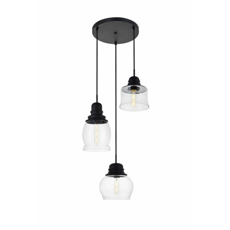 Elegant Lighting Ld2239 Kenna 3 Light 17 Wide Multi Pendant With Clear Gl