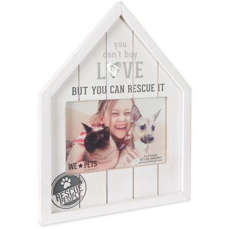 Pavilion - You Can't Buy Love But You Can Rescue It - House Shaped 6x4 White Pet Picture Frame Pet Photo Picture Frame