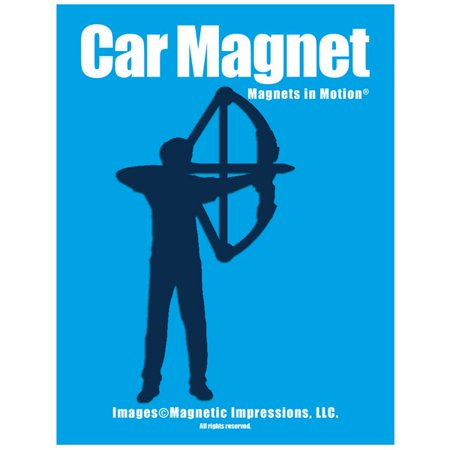 Archery Compound Bow Men's Car Magnet Blue thumbnail