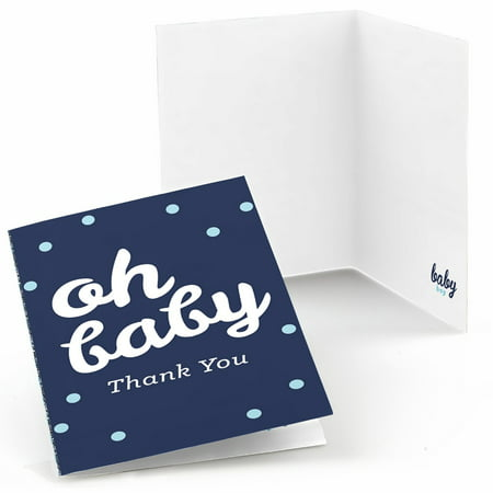 Hello Little One - Blue and Silver - Boy Baby Shower Thank You Cards (8 count)