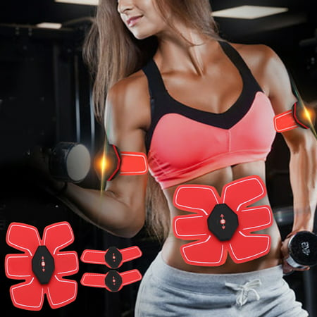 7Pcs/set PU Stimulator Abdominal Muscle Trainer Body Fit Home Exercise Shape Fitness Workout For Abdomen Arm Leg Hip Training Muscle Toner Abdominal Toning (Best Arm Toning Exercises For Fast Results)