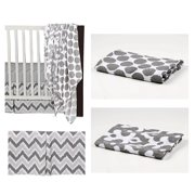 Bacati - Ikat Dots/Damask 4-Piece Crib Bedding Set with 2 Muslin Swadling Blankets, White/Grey