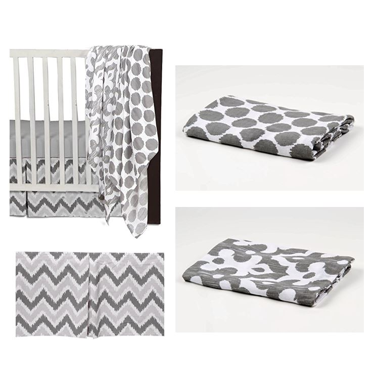Bacati - Ikat Dots/Damask 4-Piece Crib Bedding Set with 2 Muslin Swadling Blankets, White/Grey