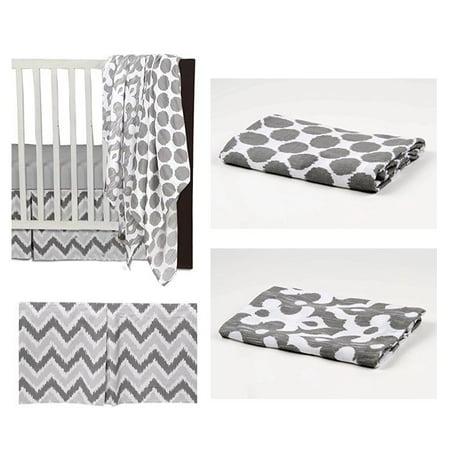 Bacati - Ikat Dots/Damask 4-Piece Crib Bedding Set with 2 Muslin Swadling Blankets, White/Grey ()