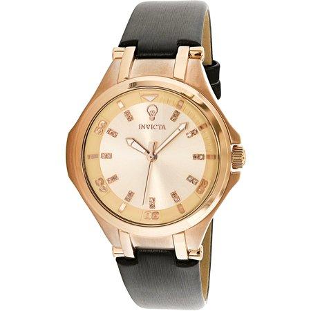 Invicta Womens Gabrielle Union 23257 Rose Gold Leather Japanese Quartz Fashion Watch