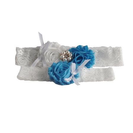 2 Pcs White Lace Wedding Garter Set with Sky Blue Rosettes and Pearl Decoration (One Size, White / Sky