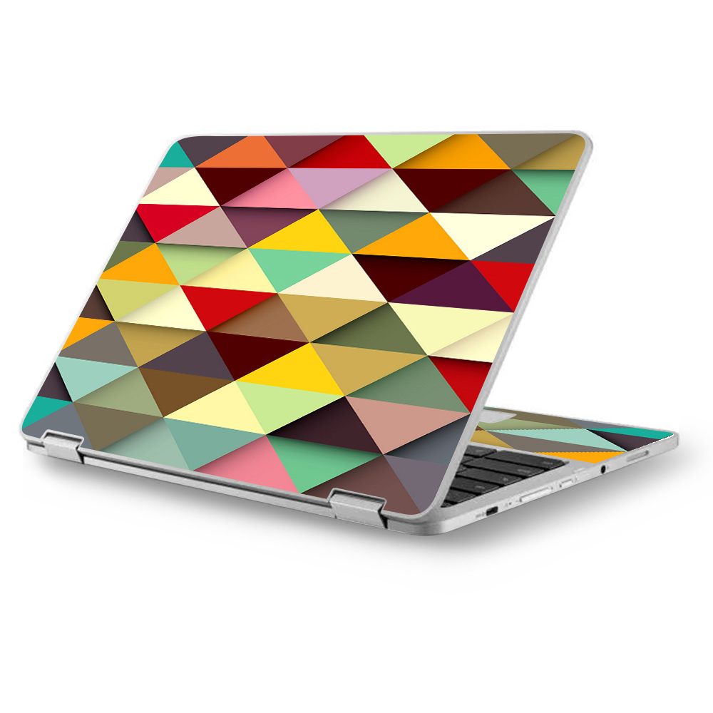 "Skins Decals for Asus Chromebook 12.5"" Flip C302CA Laptop Vinyl Wrap / Colorful Triangles Pattern"