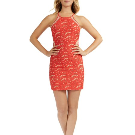 Teeze Me | Sleeveless Halter Top Lace Overlay Bodycon Dress  | Orange](Xl Teeze)