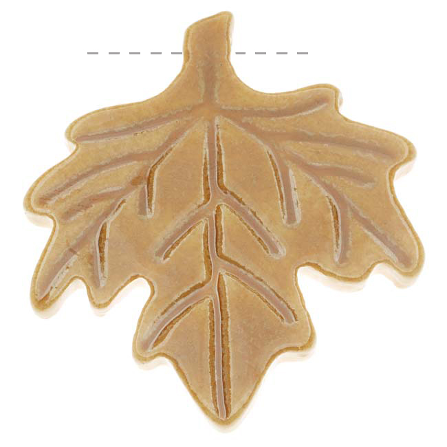Clay River Designs Glazed Porcelain Pendant Maple Leaf Golden Honey 35x40mm (1)