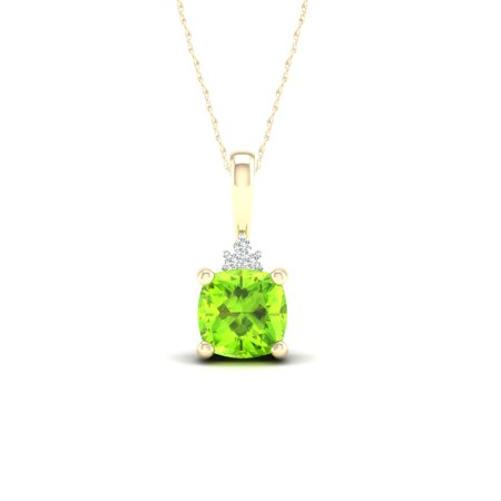 Imperial Gemstone 10K Yellow Gold Cushion Cut Peridot 1/20 CT TW Diamond Pendant (10k Peridot Necklace)