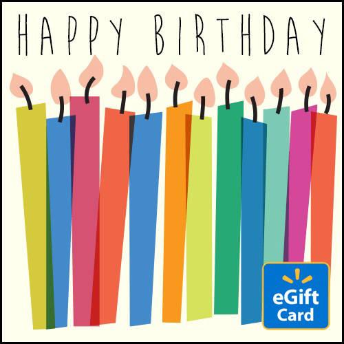 Happy Birthday Candles Walmart eGift Card