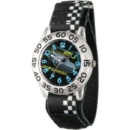 Disney Cars 3 Jackson Storm Boys' Clear Plastic Time Teacher Watch, Black Hook and Loop Nylon Strap with White Plaid Printing