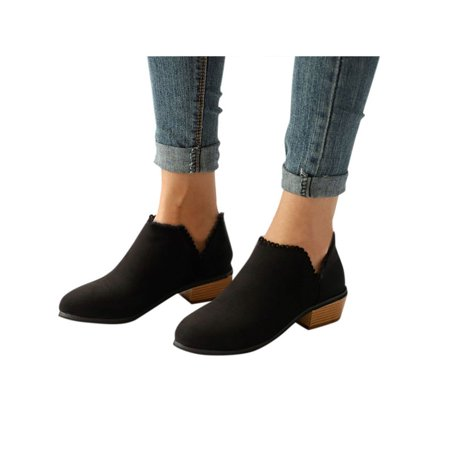 Womens Stylish Ankle Short Boots Low Heel Mid Block Ladies Casual Party - Low Rise Heels