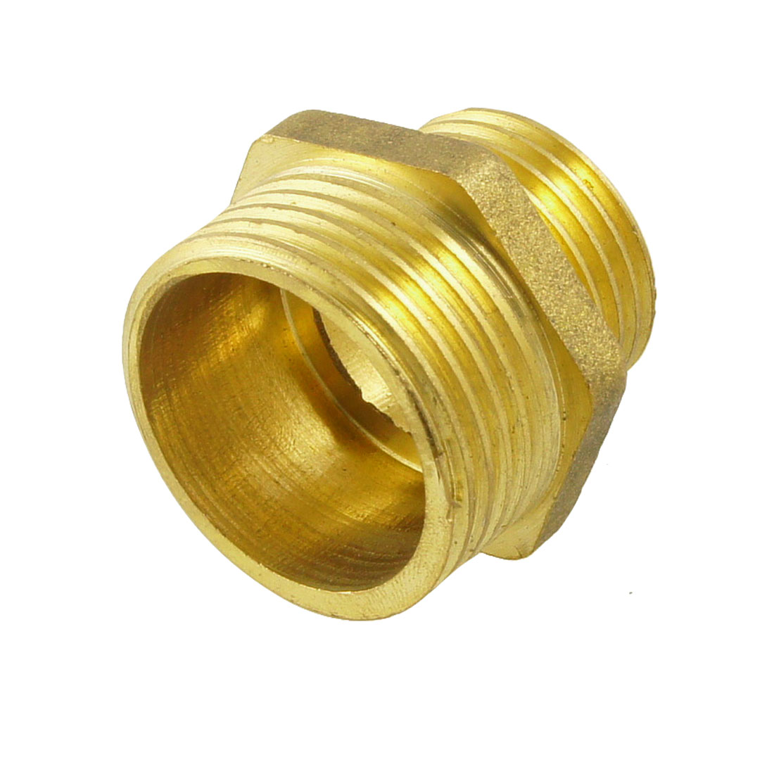"""Unique Bargains Brass Pneumatic Pipe 3/4"""" to 1/2"""" Male Hex Nipple Gold Tone"""