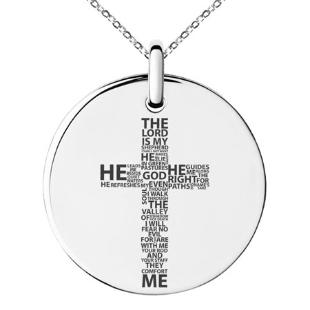 Stainless Steel The Lord is My Shepherd Psalm 23:1-4 Engraved Small Medallion Circle Charm Pendant Necklace