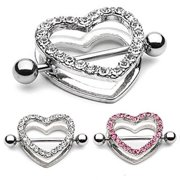 Pair of 14ga Nipple Shield - CZ Gem Paved Heart-Shaped Setting with Free Barbell