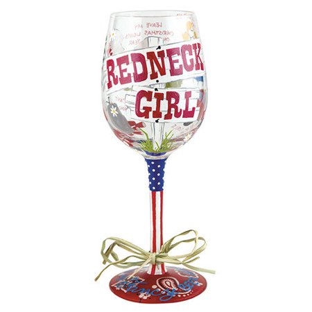 Lolita from Enesco Wine Glass, Redneck Girl