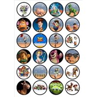 Toy Story Woody Buzz Lightyear Mr. Potato Head Mrs. Potato Head Bo Peep Rex Edible Cupcake Toppers 24ct