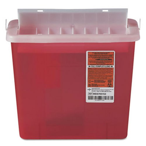 Medline Sharps 5 Qt. Disposal Container fit Patient Room, Red (MIIMDS705153H)