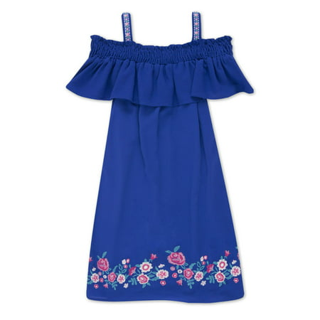 Embroidered Hem Cold Shoulder Dress (Big Girls)