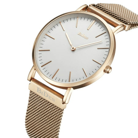 Mens Quartz Watch Gold Case Steel Mesh Belt Lovers Anniversary Gift Time Ultra-Thin for Collection Lovers Gift - Quartz Lovers Watch