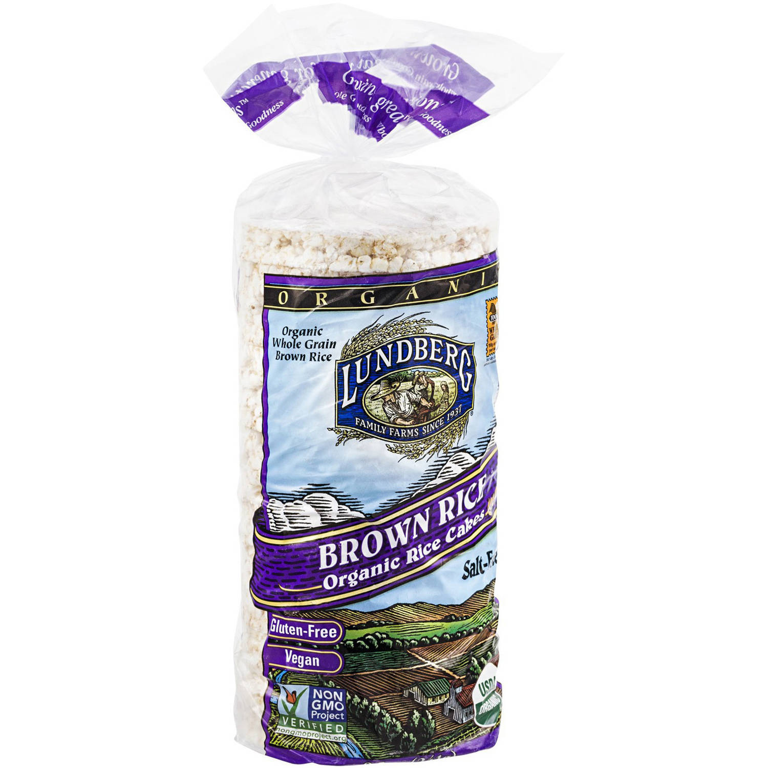 Lundberg Family Farms Brown Rice Organic Rice Cakes, 8.5 oz, (Pack of 12)