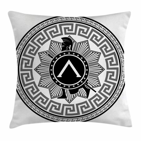 Toga Party Throw Pillow Cushion Cover, Label with Greek Pattern Spartan Soldier Silhouette Retro Military Icon, Decorative Square Accent Pillow Case, 16 X 16 Inches, Grey Black White, by Ambesonne](Greek Spartan)