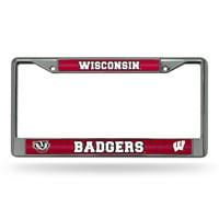 Wisconsin Badgers NCAA Bling Glitter Chrome License Plate Frame