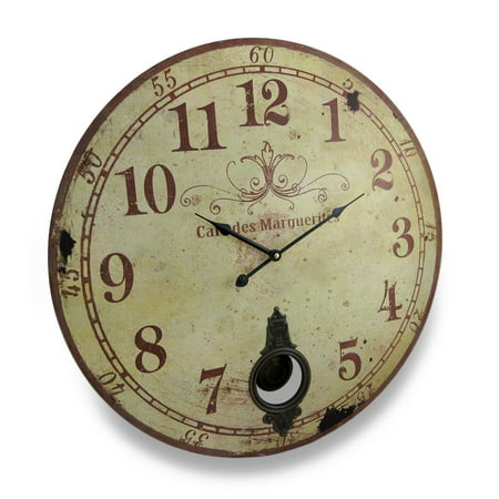 Cafe de marguerites vintage style pendulum wall clock 23 in - Stylish pendulum wall clock ...