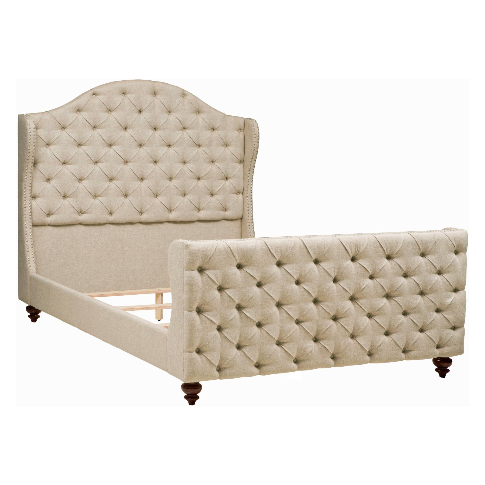 Home Meridian Tufted Wingback Upholstered Platform Bed