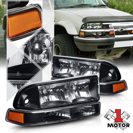 Black Housing Headlight Amber Signal Reflector Per For 98 04 Chevy S10 Blazer 99 00 01 02 03