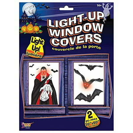 Light Up Window Cover Bats Indoor House Decor Halloween Party Prop -