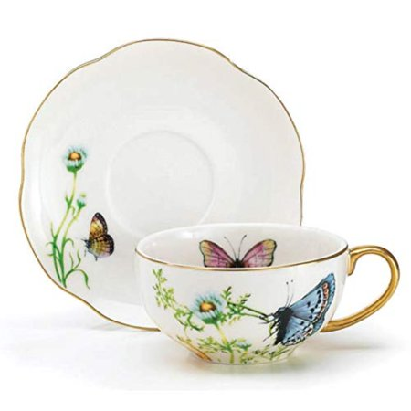 Porcelain Butterfly Teacup And Saucer Set With Gold Trim Fine Dining And Table Decor, Elegant and graceful porcelain teacup and saucer set By Wings Of Grace Collection ()