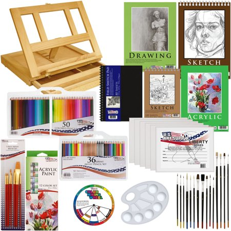 134pc Deluxe Acrylic Paint Sketch Set Easel Draw Pad